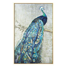 Handpainted Beautiful Peacock Oil Painting for Korea Villa
