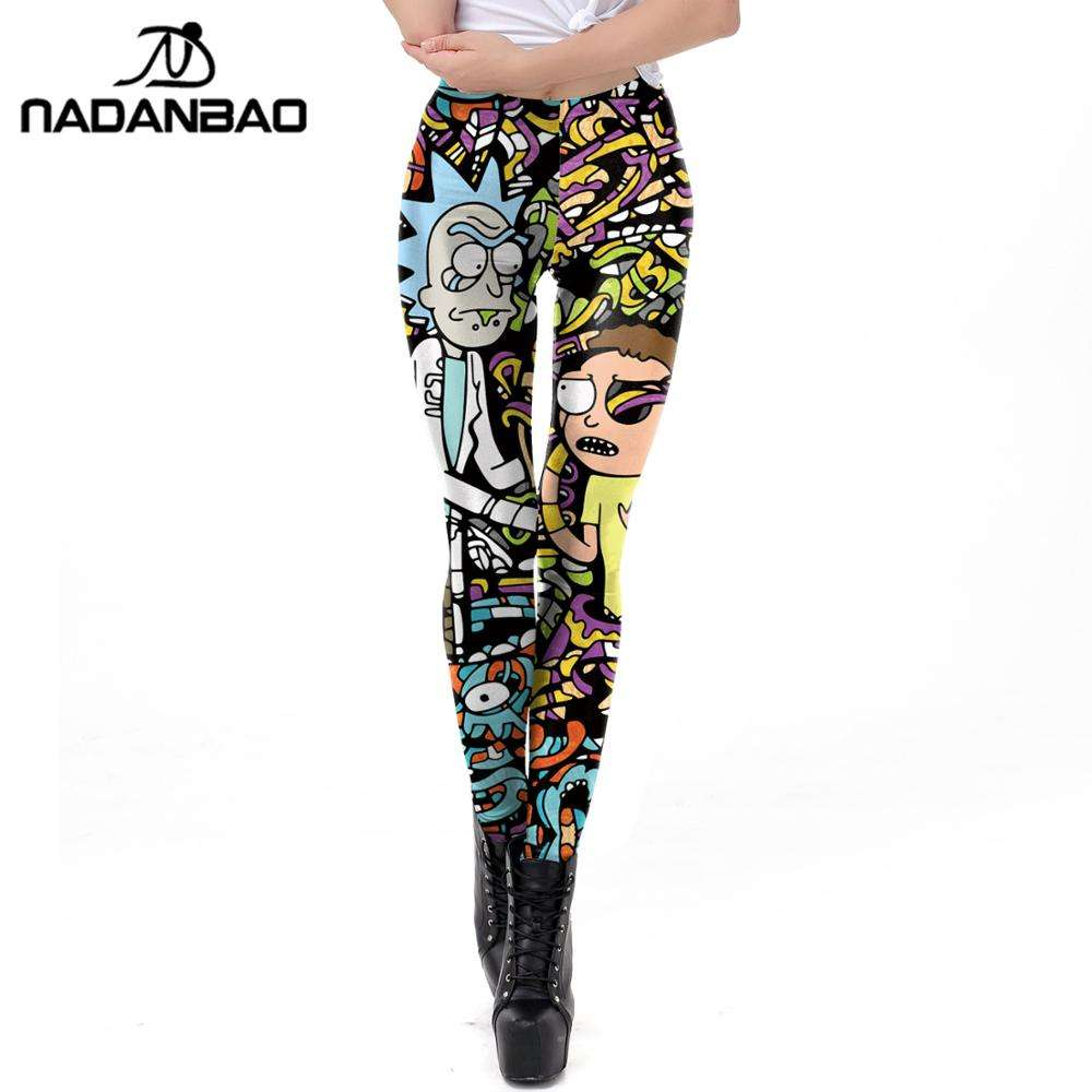 Nadanbao Brand Groothandel Dames Bedrukte Leggings Rick En Morty Comic Cartoon 3d Gedrukt Panty Vrouw Leggings