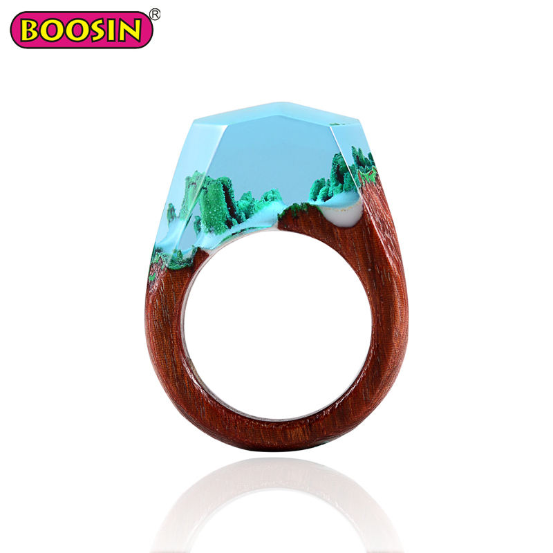 Unique Products Fashion Jewelry Handmade Wood Resin Ring RIngs Jewelry Women