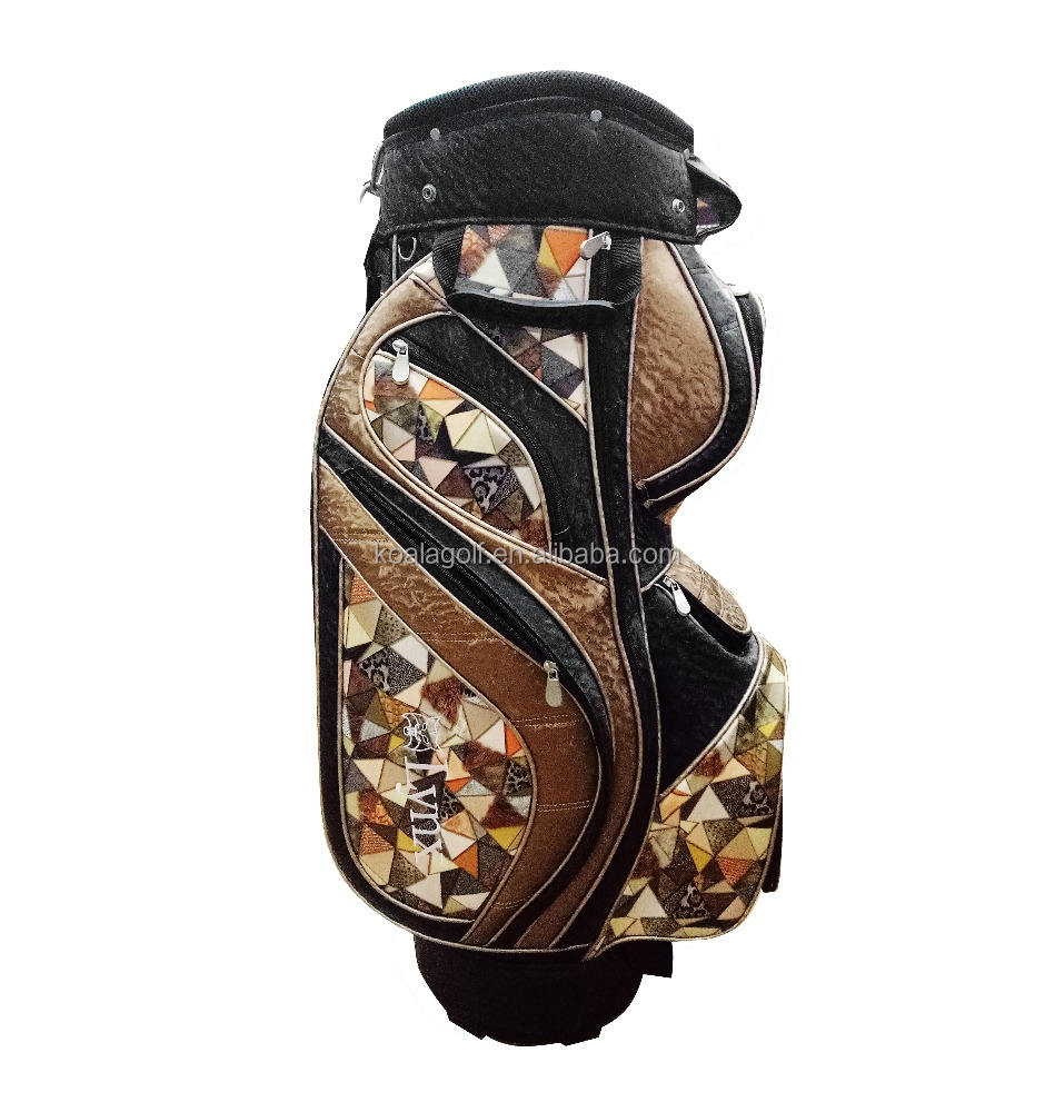 new design boston Luxury fashion premium PU Leather Golf Cart bag