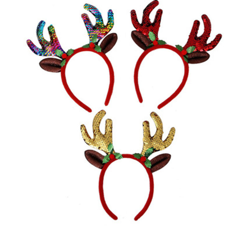 Christmas Deer Antler Horn Flashing Sequin Christmas Reindeer Antler Headbands