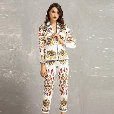 2019 Spring new vintage printed ladies small suits two professional commuter suits