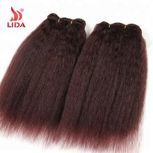 Lida Kinky curly Straight Synthetic Hair Extension 22 Inch 99J color Hair Weaves Bundles extensions