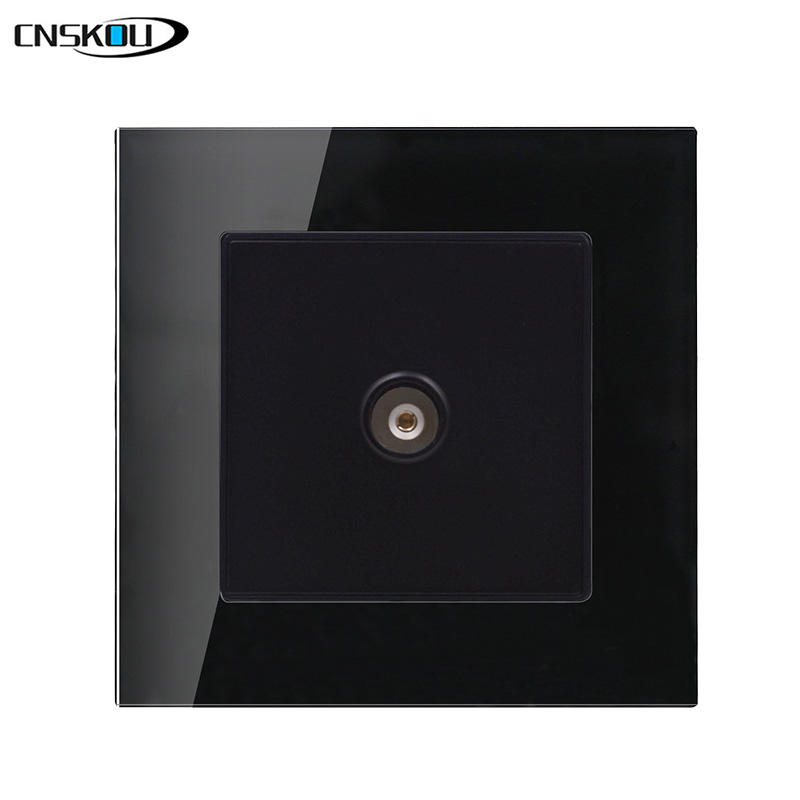 CNSKOU EU/UK Standard 86*86mm Black Color Satellite TV Wall Socket TV Outlet Socket