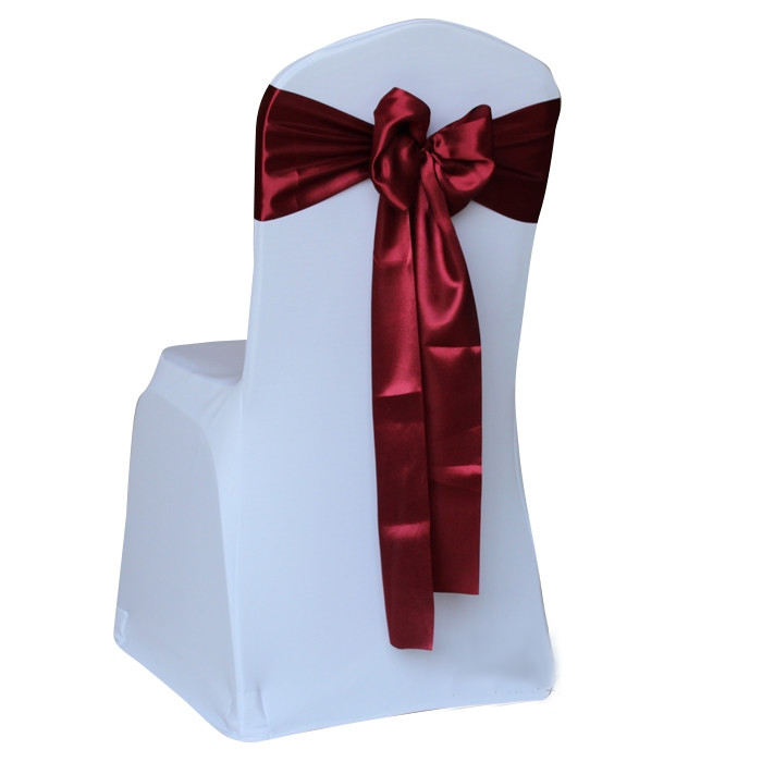 Banquet catering decorative burgundy satin sash wedding chair ribbons