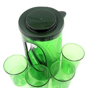 BPA-free Safe Plastic Pitcher Jug Sets with 4 Cups with Lid for Juice & Iced Tea