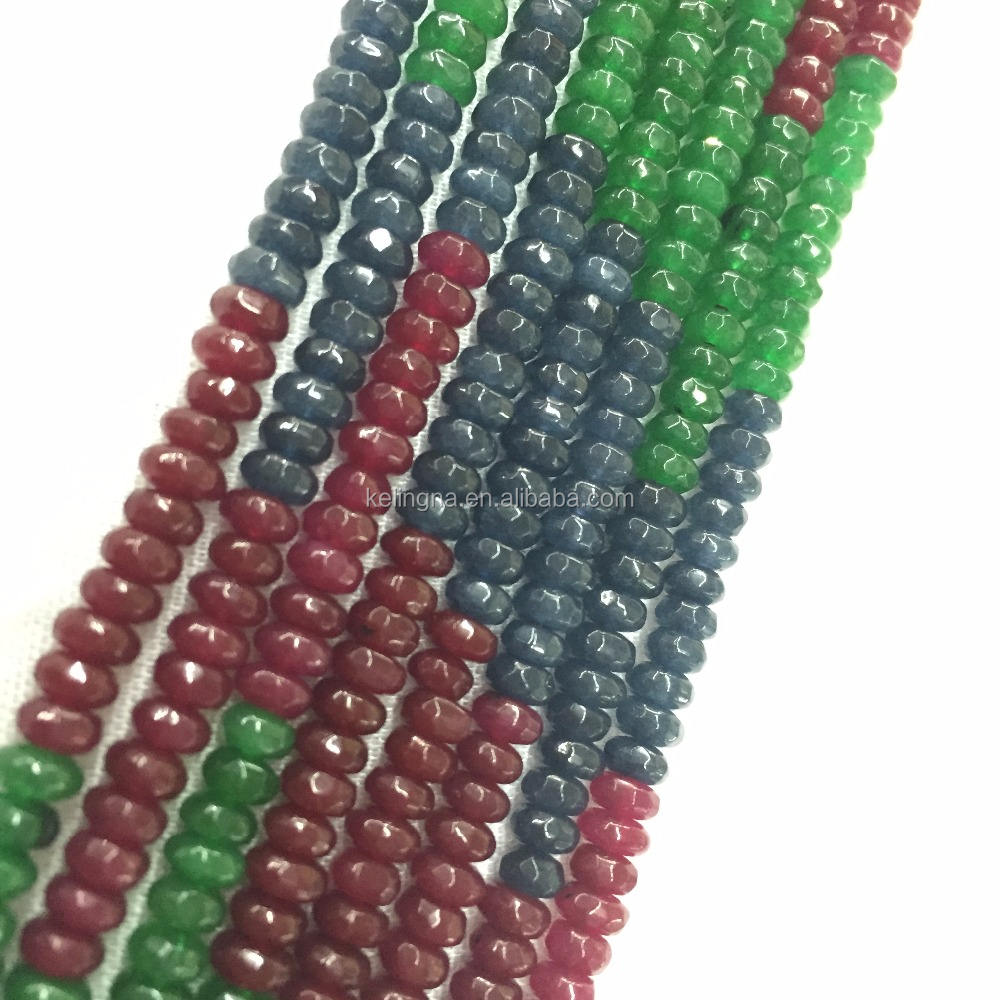 Faceted Rondelle Small Ruby Emerald Sapphire Beads