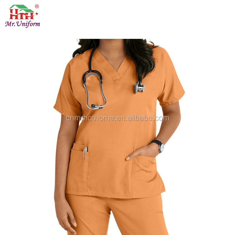 Cotton Polyester V-Neck Cheap plus size stretch Doctors Medical Scrub Uniform for Women