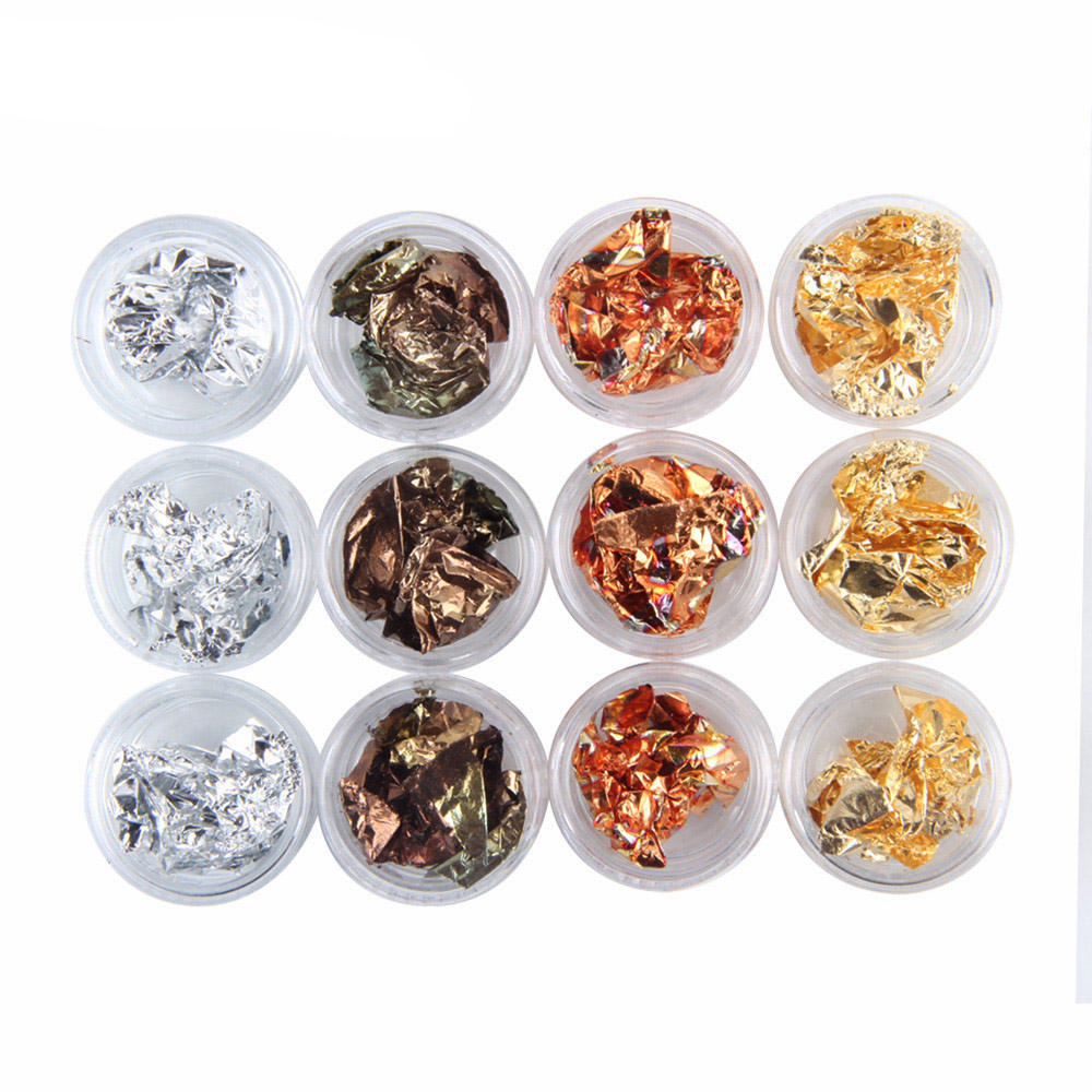 Gold & Silver Flakes 4 Colors Gold Foil Nail Art Accessories For Nail Art