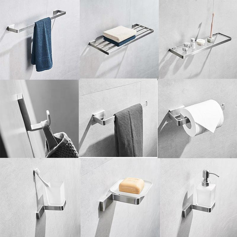 FACIIO Wall Mounted 304 stainless steel bathroom hotel bath towel bar tissue paper roll holder robe hook bathroom accessory set