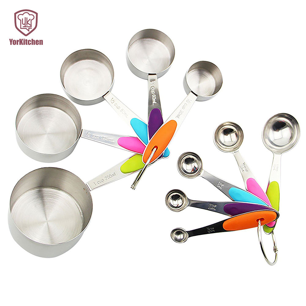 Wholesale Amazon 10pcs stainless steel silicone handle measuring cups