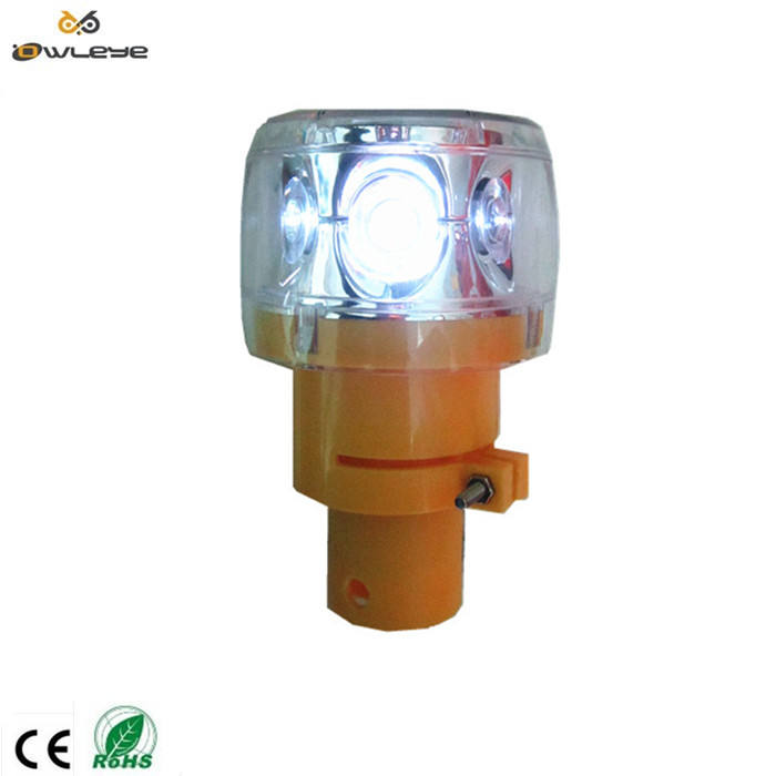 traffic cone or pole and guardrail solar power led rotation warning light