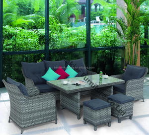 6-piece Aluminum Outdoor Wicker couch garden furniture sets PE Rattan patio table and chairs for sale
