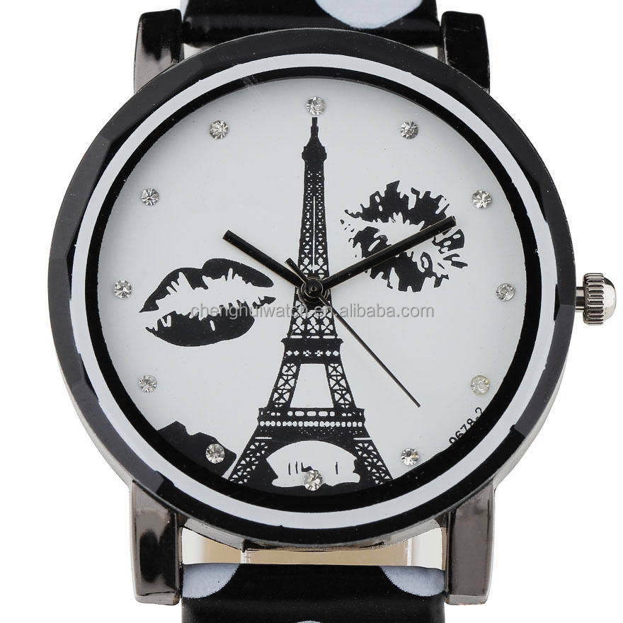 Kiss tower wrist quartz PU leather wristwatch women's paris black + white stainless steel back watch