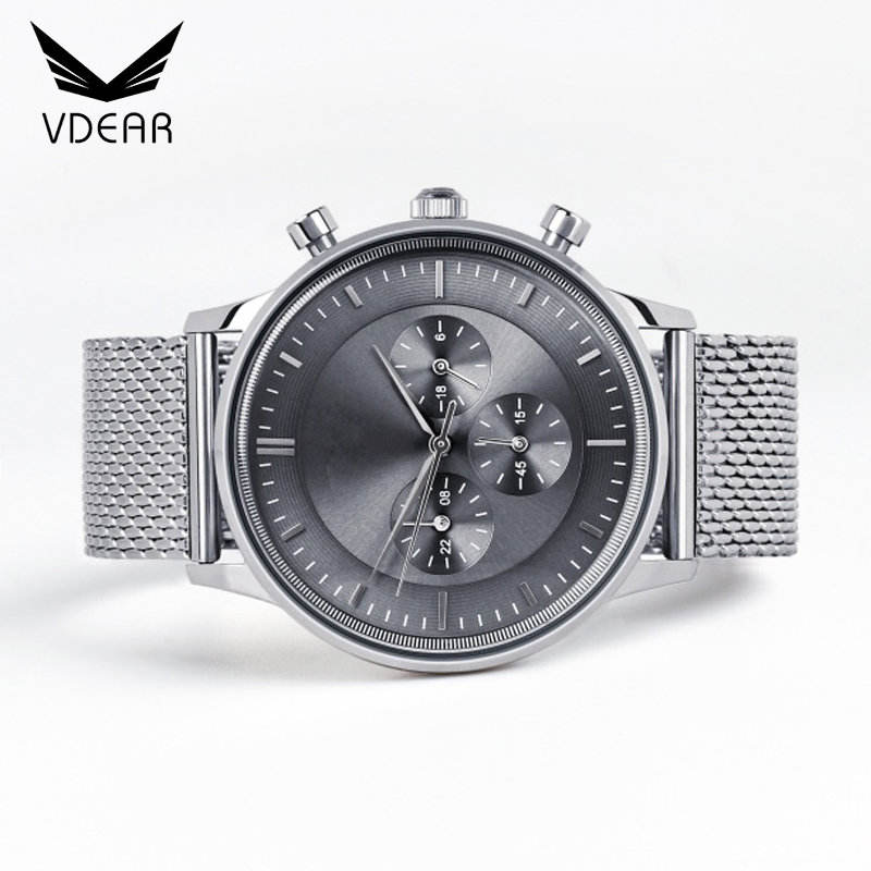 China watch factory customise high end luxury watch minimal mesh strap elegant men watch oem chronograph