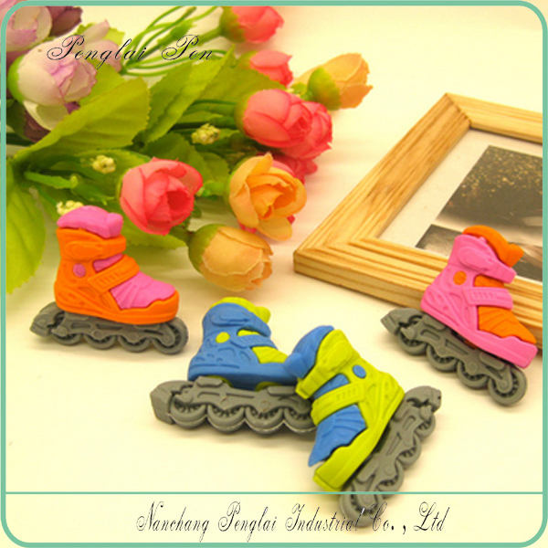 new 3D Fashion skates shoes Shaped eraser,Sports series, Cute rubber eraser for kids