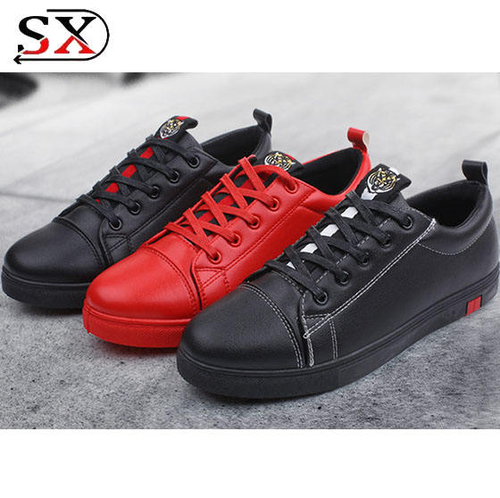 Luxury Black Leather Shoes Men Casual Sport Sneakers Shoes Fashion Men Shoes For Wholesale