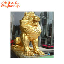 large outdoor artificial fiberglass sculpture metal sculpture lion sculpture decoration
