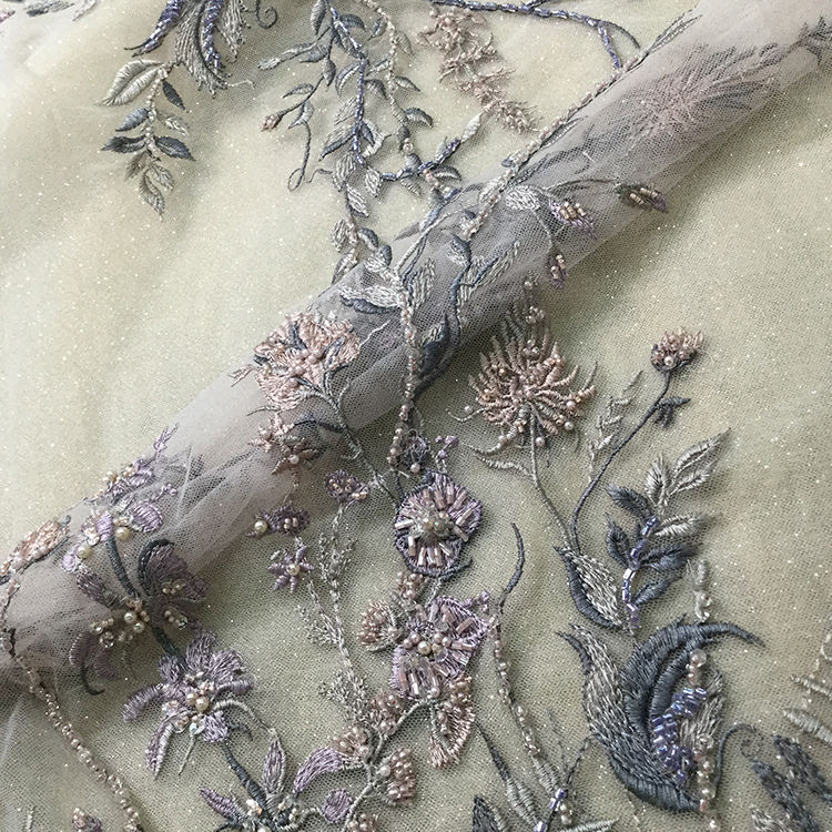 ES0102 Custom color handmade line net beaded tulle lace elegant embroidery fabric embroidered