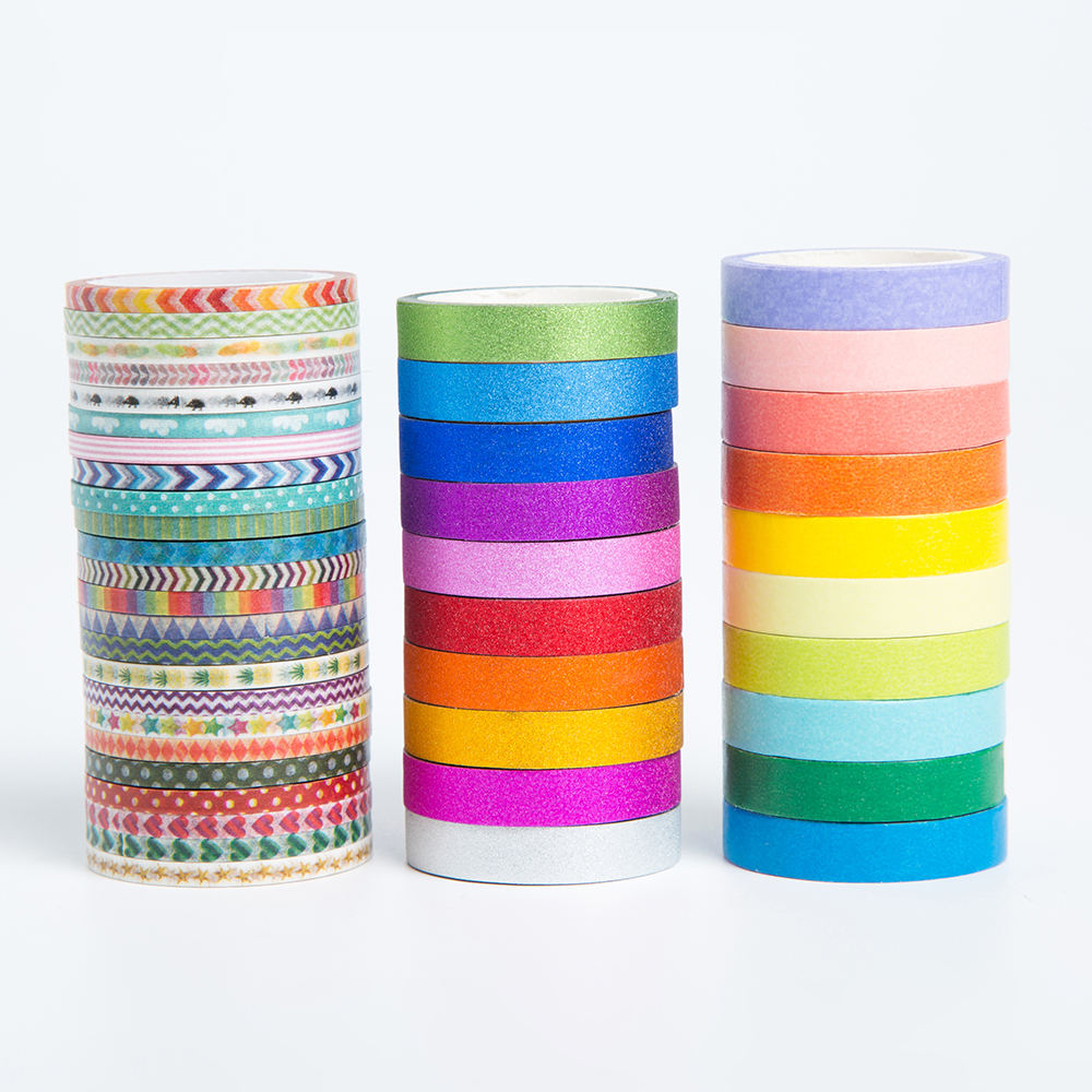 AAGU 44Rolls/Set Skinny Washi Tape Rainbow Colorful Adhesive Paper Tape Decorative Masking Tape Stationery Crafts