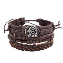 New Multi-layer Retro Peace Tree Friendship Tree Of Life Braided Leather bracelet