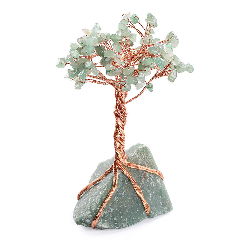 Chakra Healing Crystals Copper Money Tree Wrapped On Natural Green Aventurine Base Feng Shui Luck Figurine