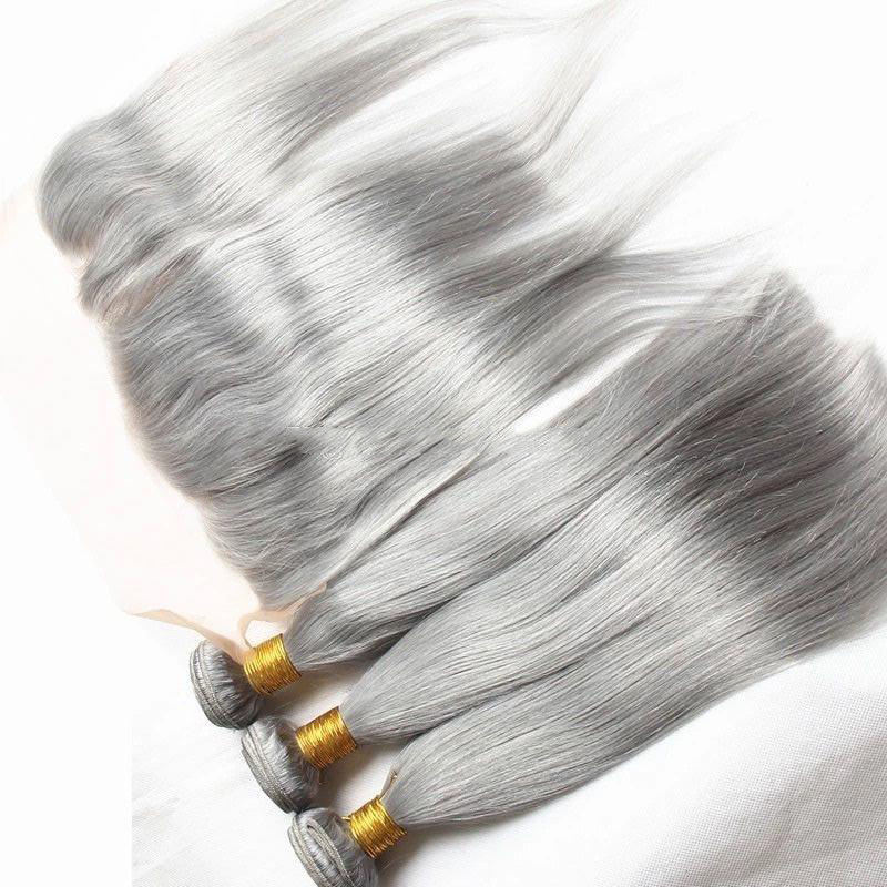 Wholesale cheap raw unprocessed virgin brazilian human hair weaves grey silky straight hair bundles with lace frontal