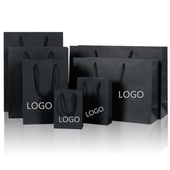 Fashion Black Shopping Bag Foldable Accept Custom Logo Shopping Bag Reusable Hot Sale Shopping Bag Paper