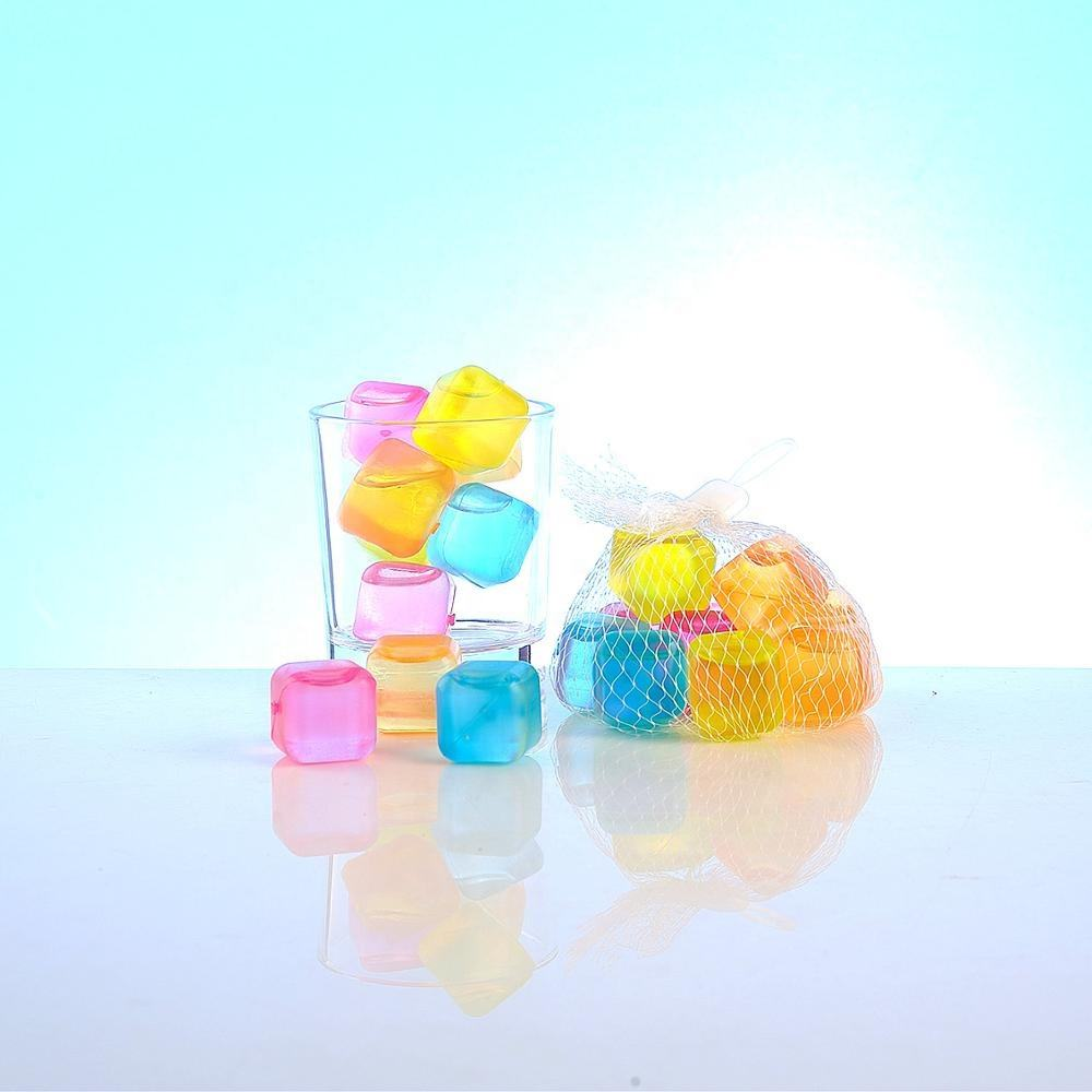 Multi-Colored Bpa Free Plastic Reusable Ice Cubes For Drinks
