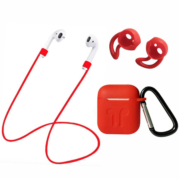 4X1 Silikon Case Cover Kit untuk Airpods: Pengisian Case Kulit Anti Hilang Tali Hook earphone Earbud Earhook Cover untuk Airpod