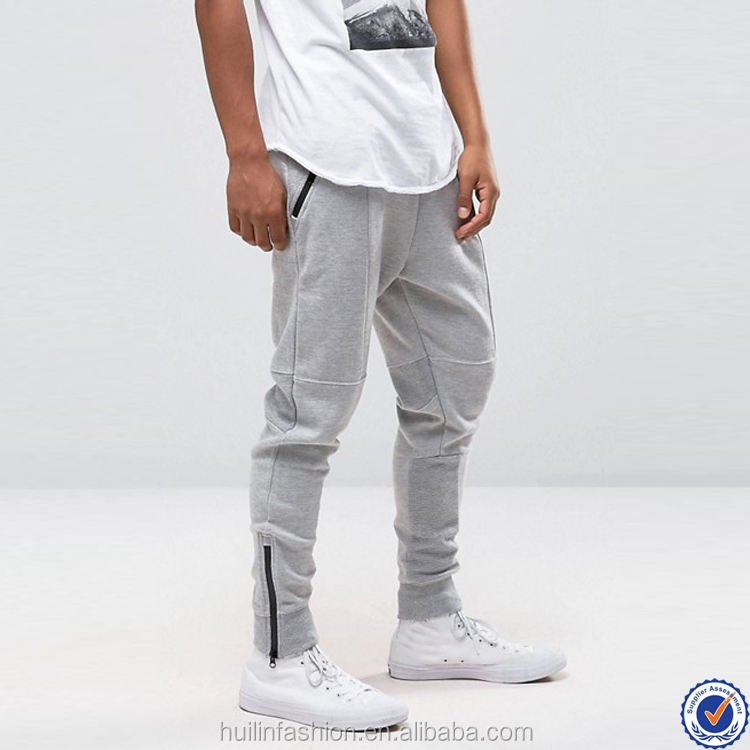 mens sweat pants slim joggers wholesale zipped cuffs zip side pockets mens joggers