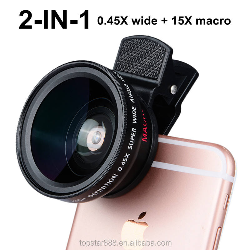 37mm 0.45X 49UV 2 in 1 Mobile Phone lens Super Wide Angle 15X Macro Camera Circle Glass Lens