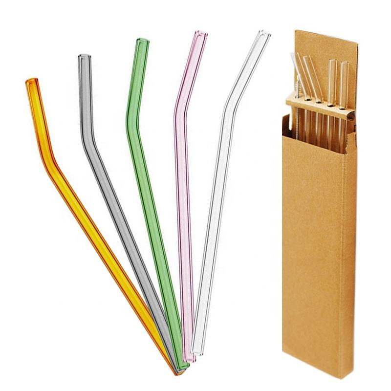 Customized package with gift box or bag Ecofriendly reusable high Borosilicate bent glass drinking straws