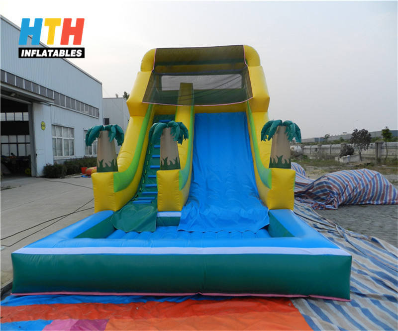 Palm tree commercial inflatable swimming pool slide for sale
