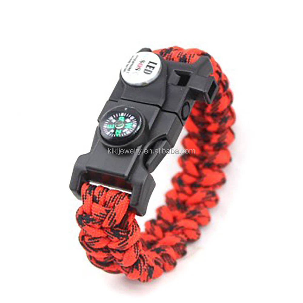 우 공장 Firestarter Jewellery Bracelets Paracord 550 생존 Kit Custom Logo Paracord Bracelets Multifunction Bracelet