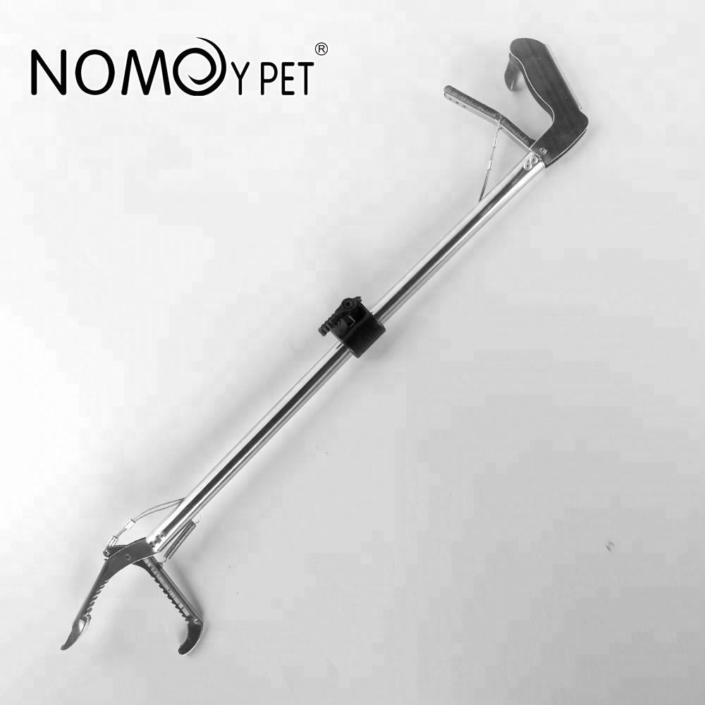 NOMOY PET Superior Quality stainless steel snake hook aquarium accessories tongs 27 inch collapsible Sliver NFF-29