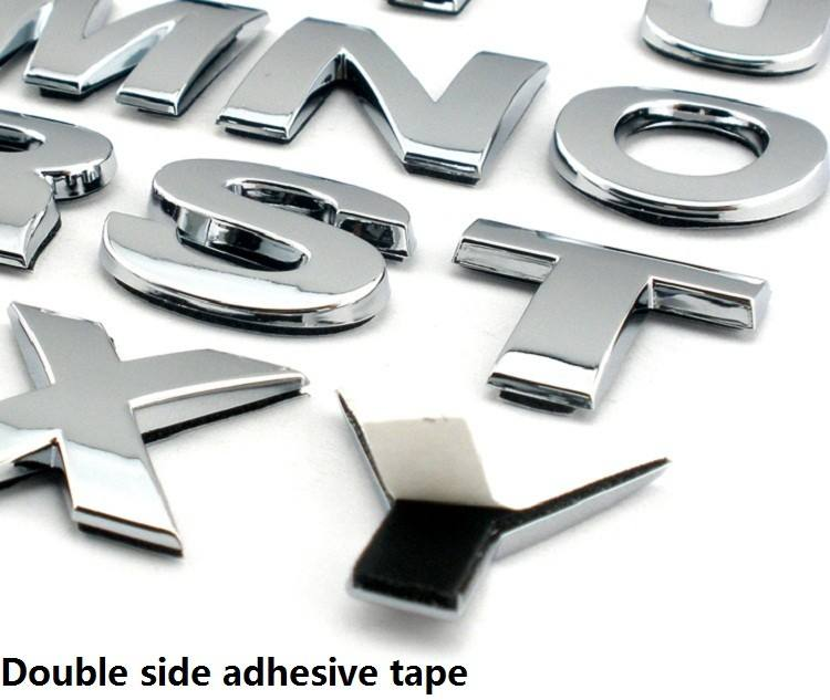 Custom 3d chrome letters & numbers self adhesive 3D car sticker
