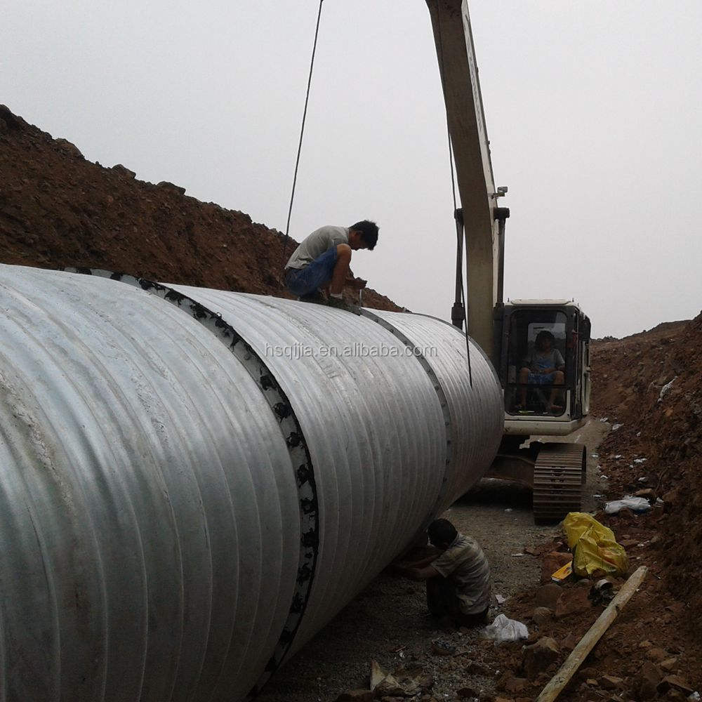 metal band corrugated steel pipe culvert Q235 material road construction the culvert pipe