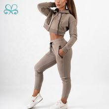 Boxin women sportswear gym running clothing Khaki plain jogger suits fitness blank tracksuit