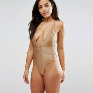 KY wholesale one piece plus size swim suit With Removable Chain neck Non-padded cups Detachable chain Low back High-cut leg