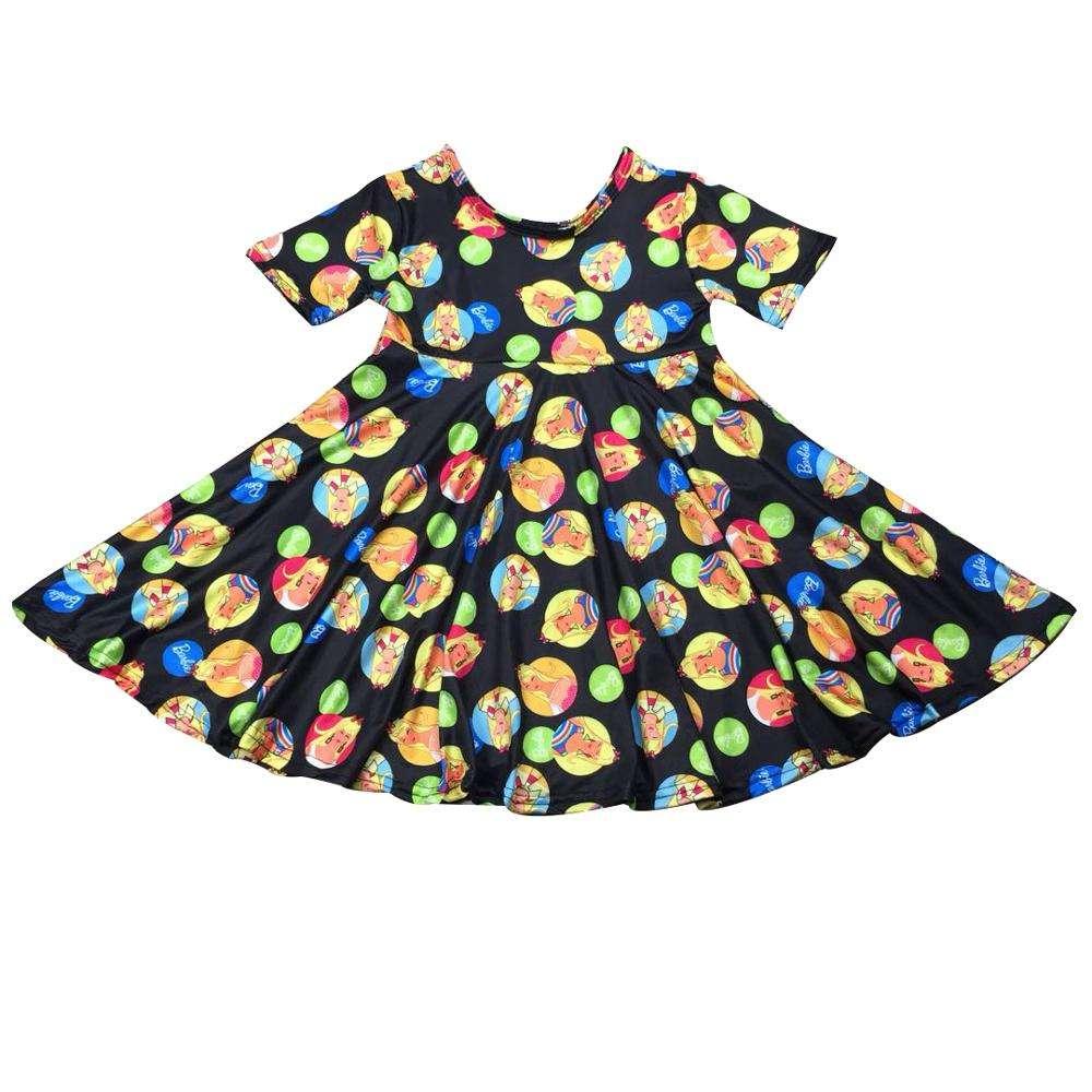 wuayi  Baby Girls Dress Long Sleeve Fower Print Dresses 2-11 Years
