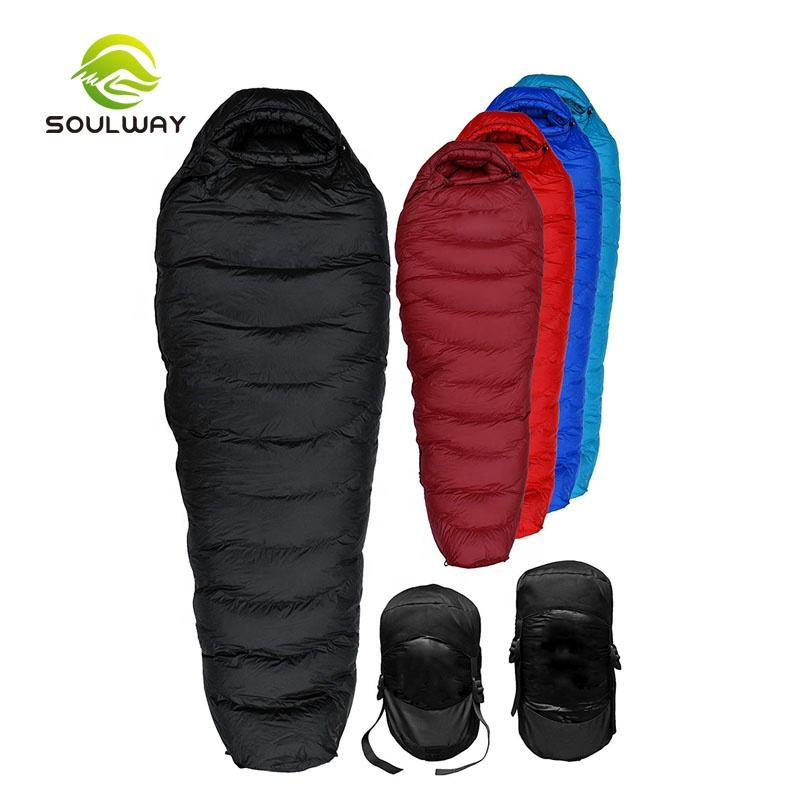 Manufacturer Perfect 400T 20D Ripstop Nylon Winter Camping 650 fill Duck Down Mummy 0 Degree Sleeping bag for Cold Weather