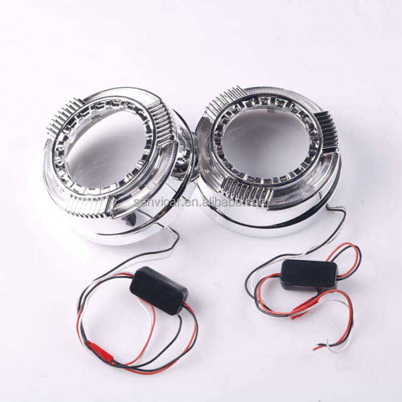 Wholesale Car Projector Lens Retrofit LED Shrouds LED DRL Angel-eye with Shrouds For 3 Inch Q5 Hella5 Bi Xenon Projector Lens