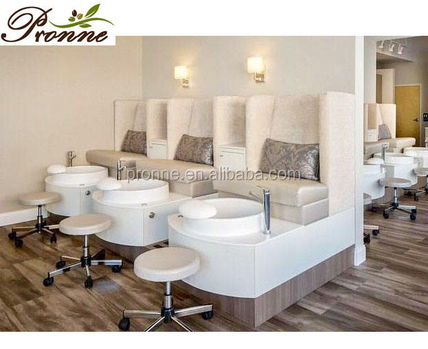 nail spa equipment jacuzzi wooden pedicure station chair