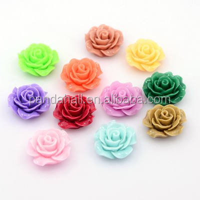 PandaHall Mixed Color 18mm Flower Resin Rose Cabochons
