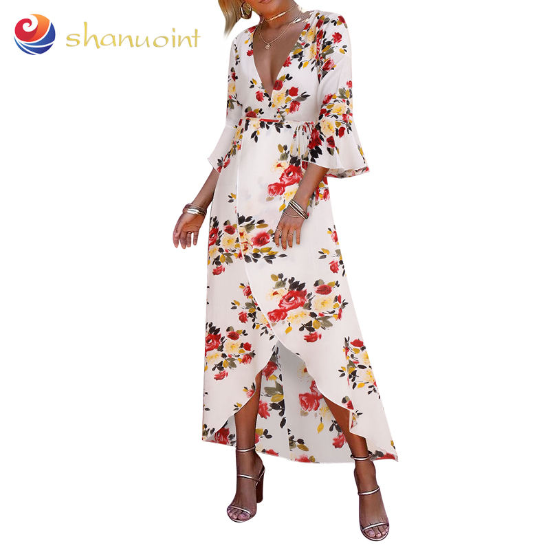 Explosion models foreign trade women's trumpet sleeves skirt long cotton print boho dress