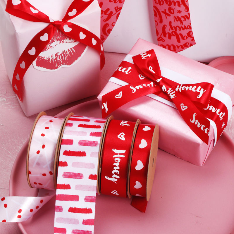 New Product Sweet Heart Honey Love Valentine Collection Printed Ribbon
