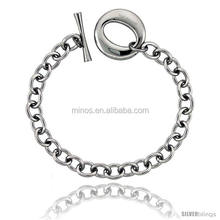stainless steel large oval toggle clasp cable link bracelet 8inch unisex fashion bracelet