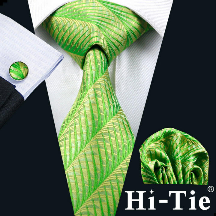 Hi-Tie Silk Mens Ties Green Jacquard Woven Tie Set Green Necktie B-0260