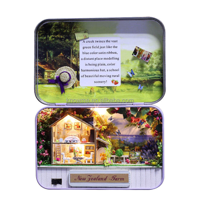 Wholesale new tin box wooden doll house happy farm with light and furniture best gifts for yong people and kids